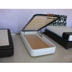 OFERTON Canape SERENA Gran Capacidad 80x180cm Polipiel Blanco con tapa de Somier